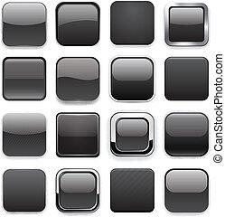 app, quadrat, schwarz, icons.