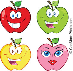 Apple Cartoon Kollektion Set.