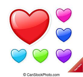 Aqua-Stil, Vektor-Herz-Ikonen. Verschiedene Farben, jede Größe.