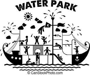 Aquapark flache Vektorgrafik