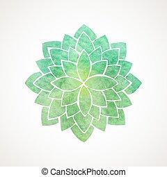aquarell, lotusblüte, grün, farbe