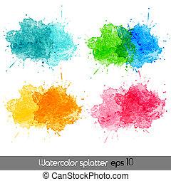 aquarell, vektor, splatters.