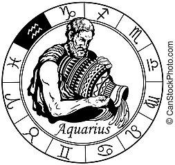 Aquarius zodiac Zeichen schwarzweiß
