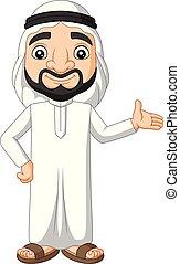 araber, winkende , saudiaraber, karikatur, mann