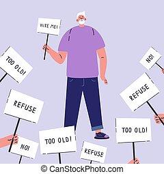 arbeit, hohes alter, mann, discrimination., schauen