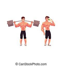 arbeitende , bodybuilder, hantel, schütteln, trinken, heraus, protein, mann
