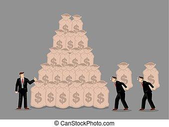 Arbeiter bringen Taschen von Geld an Geschäftsmann Vektor Illustration