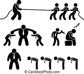 arbeiter, geschaeftswelt, kämpfen, piktogramm