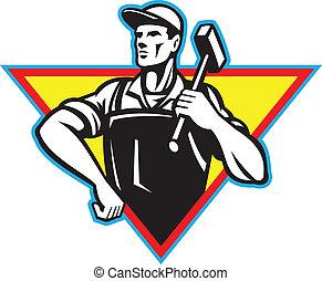 Arbeiter mit Hammer-Retro