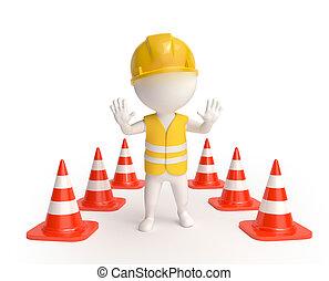 Arbeiter mit Verkehrskameraden.