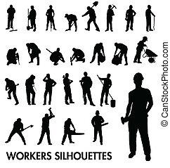 Arbeiter Silhouetten.