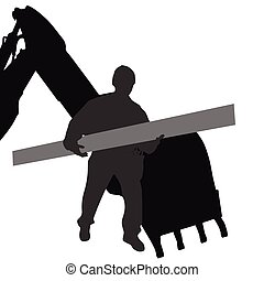 Arbeiter transportieren Material per Maschine