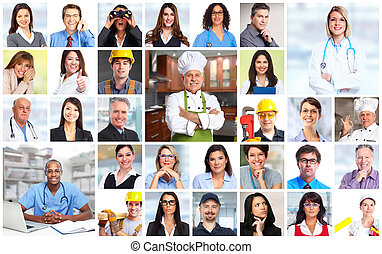 Arbeiter von Geschäftsleuten stehen vor Kollaps.