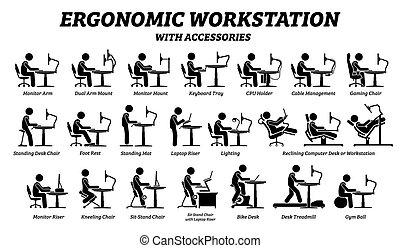 arbeitsplatz, ergonomisch, buero, edv, workstation.