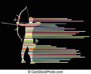 Archer Man beugt sich vor dem Hintergrund.