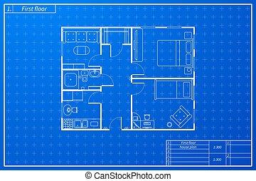 Architektenplan des Hauses im Entwurf Zeichnung Stil.