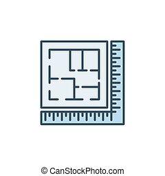 architektur, lineal, plan, gefärbt, ikone, haus, vektor