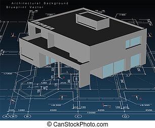 Architekturmodellhaus mit Blaupause. Vector