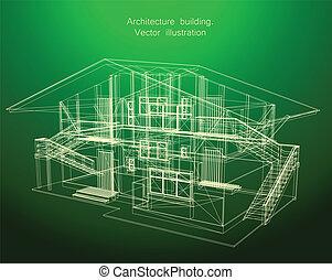 Architekturpläne eines grünen Hauses