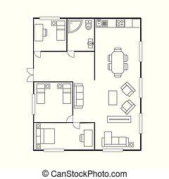 Architekturplan mit Möbeln. Hausplan,