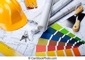 Architekturwerkzeuge auf Bauplänen