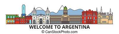 Argentinien skizzierte Skyline, argentinische flache dünne Linien Icons, Wahrzeichen, Illustrationen. Argentinien Cityscape, argentinische Reisestadt-Vektor-Banner. Urban Silhouette