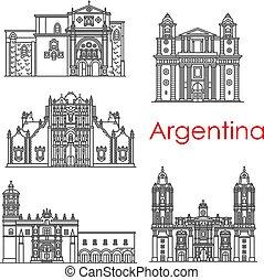 Argentinien Wahrzeichen Architektur Vektorlinie Icons