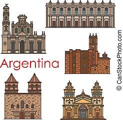 Argentinien Wahrzeichen Vektorarchitektur Linien Icons