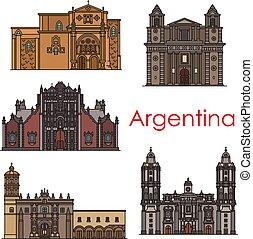 Argentinien Wahrzeichen Vektorgebäude Linien Icons