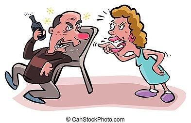 Argues Frau an alkoholischen Ehemann.