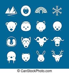 arktische Tiere flache Icons mono color set.
