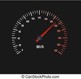 armaturenbrett, geschwindigkeitsmesser, beschleunigen auto, bankschalter, oder, vektor, pointer.