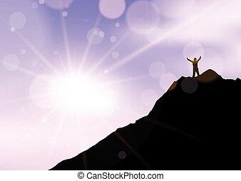 arme, gegen, standen, 2707, felsformation, rand, silhouette, angehoben, himmelsgewölbe, mann, sonnenuntergang