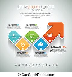 Arrow-Grafiksegment infographic.