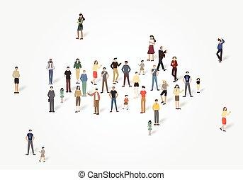 Arrow Gruppe von Leuten mit copyspace.Vector Illustration