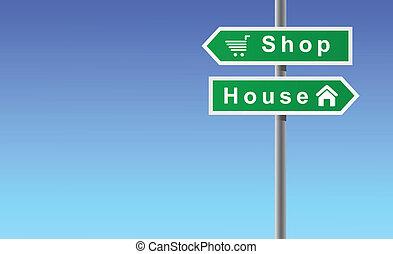 Arrows Shop House on Sky Background