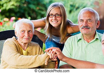 art, dame, familie, senioren, besuchen