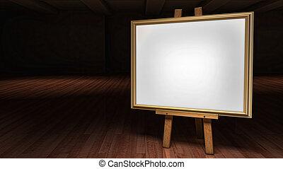Art Easel mit leerem Rahmen in einer dunklen Galerie.