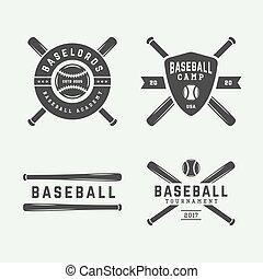 art., logos, elements., baseball, monochrom, illustration., weinlese, embleme, abzeichen, graphischer entwurf, vektor