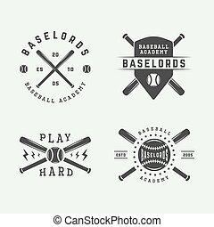 art., logos, elements., baseball, monochrom, satz, illustration., weinlese, vektor, abzeichen, graphischer entwurf, embleme