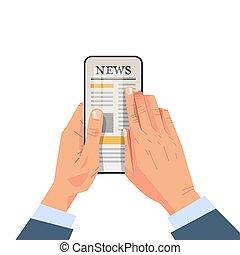 artikel, online, anwendung, geschäftsmann, smartphone, zeitung, beweglich, lesende , schirm, nachrichten, alltaegliches