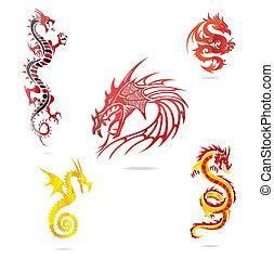 Asiafarbene Drachen sind isoliert