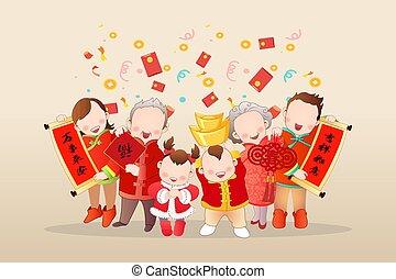 asiatisch, besitz, familie, generation, lunar, neu , feiern, jahr, drei, couplets