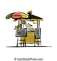Asiatische Händler auf dem Markt, Sketch für Ihr Design.