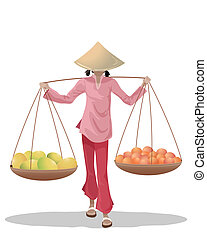 Asiatischer Obstverkäufer