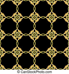 Asiatisches goldenes Muster auf schwarz