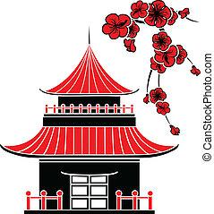 Asiatisches Haus und Kirschblüten.