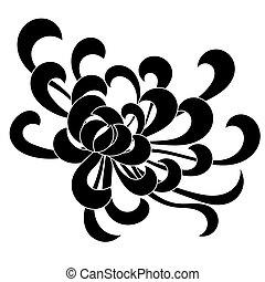 Asterblüte schwarz isoliert auf weiß.