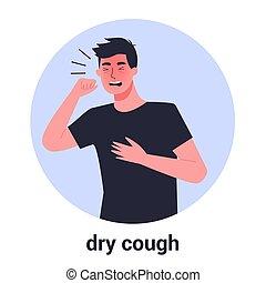 asthma, haben, mann, allergie, trocken, cough., krank, mann, person