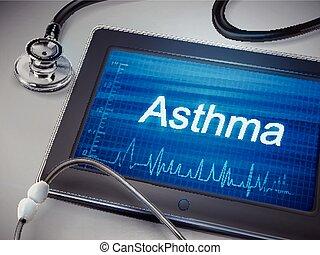 Asthma-Wortanzeige auf der Tafel.